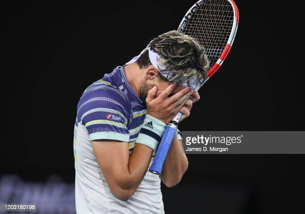 Dominic Thiem after winning his semifinal match against Alexander Zverev of Germany on day twelve of the 2020 Australian Open at Melbourne Park on...
