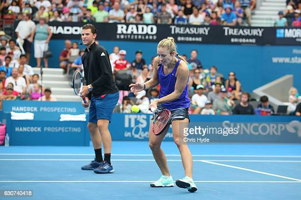 Dominic Thiem and Angelique Kerber take part in the Pat Rafter Arena Spectacular during day one of the 2017 Brisbane International at Pat Rafter...