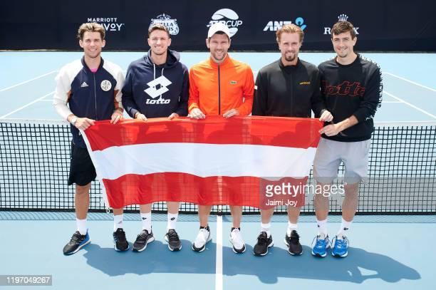 Dominic Thiem, Dennis Novak, Jurgen Melzer, Oliver Marach and Sebastian Ofner of team Austria pose at ATP Cup media day ahead of the 2020 ATP Cup...