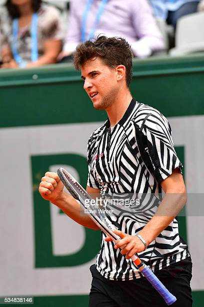 Dominic Thiem during the Men's Singles third round on day seven of the French Open 2016 on May 28 2016 in Paris France