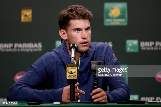 Dominic Thiem fields questions from the media at a press conference during the BNP Paribas Open at the Indian Wells Tennis Garden on March 8 2018 in...