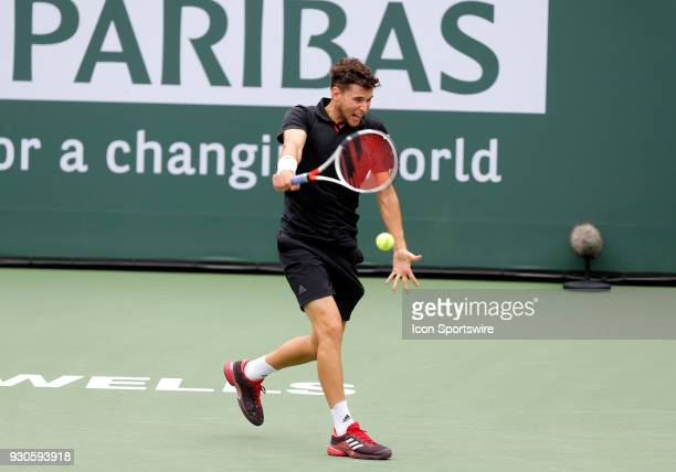Dominic Thiem hits a backhand during the second round of the BNP Paribas Open on March 10 at the Indian Wells Tennis Gardens in Indian Wells CA