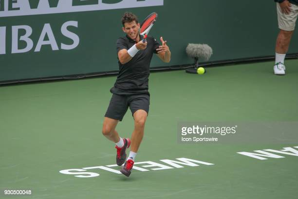Dominic Thiem hits a forehand during the BNP Paribas Open on March 10 2018 at the Indian Wells Tennis Garden in Indian Wells CA