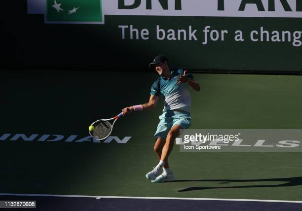 Dominic Thiem hits a forehand during the finals of the BNP Paribas Open on March 17 at the Indian Wells Tennis Gardens in Indian Wells CA