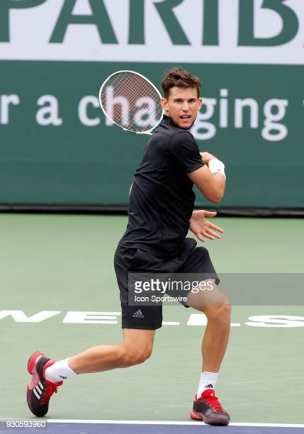 Dominic Thiem hits a forehand during the second round of the BNP Paribas Open on March 10 at the Indian Wells Tennis Gardens in Indian Wells CA