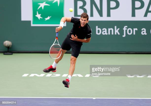 Dominic Thiem hits a serve during the second round of the BNP Paribas Open on March 10 at the Indian Wells Tennis Gardens in Indian Wells CA