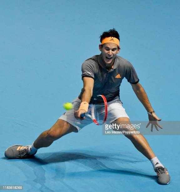 Dominic Thiem in action against Stefanos Tsitsipas in their Final match during Day Eight of the Nitto ATP Finals at The O2 Arena on November 17 2019...