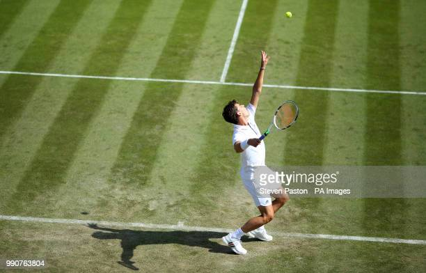 Dominic Thiem in action on day two of the Wimbledon Championships at the All England Lawn Tennis and Croquet Club Wimbledon