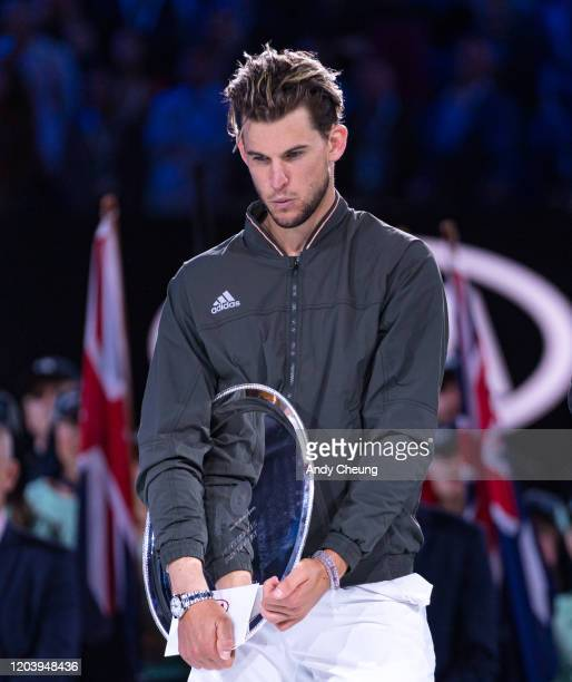 Dominic Thiem looks dejected at the trophy presentation ceremony after losing the men's singles final match against Novak Djokovic of Serbia on day...
