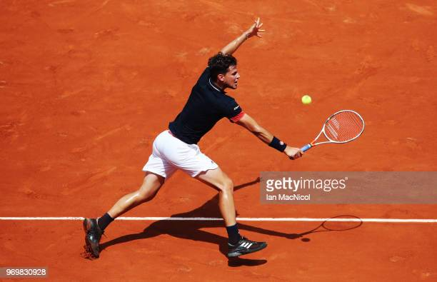 Dominic Thiem of Austra is seen during his Men's Singles Semi Final match against Marco Cecchinato of Italy during day thirteen of the 2018 French...