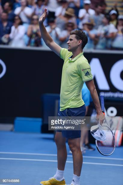 Dominic Thiem of Australia in action against Adrian Mannarino of France during the sixth day of 2018 Australia Open at Melbourne Park in Melbourne...