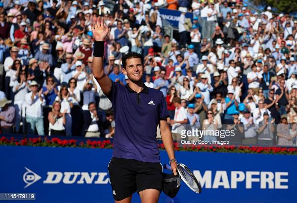 Dominic Thiem of Austria acknowledges the fans after winning during his Men's round of semifinal match against Rafael Nadal of Spain on day six of...