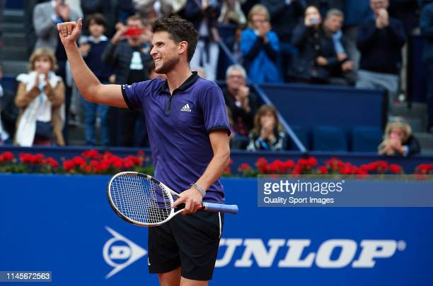 Dominic Thiem of Austria acknowledges the fans after winning during his Men's round of final match against Daniil Medvedev of Russia on day seven of...