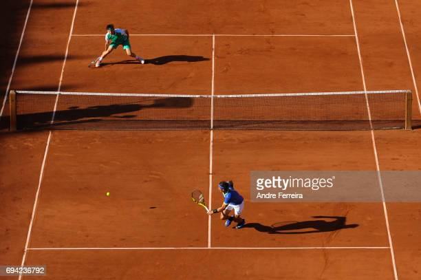Dominic Thiem of Austria and Rafael Nadal of Spain during the day 13 of the French Open at Roland Garros on June 9 2017 in Paris France