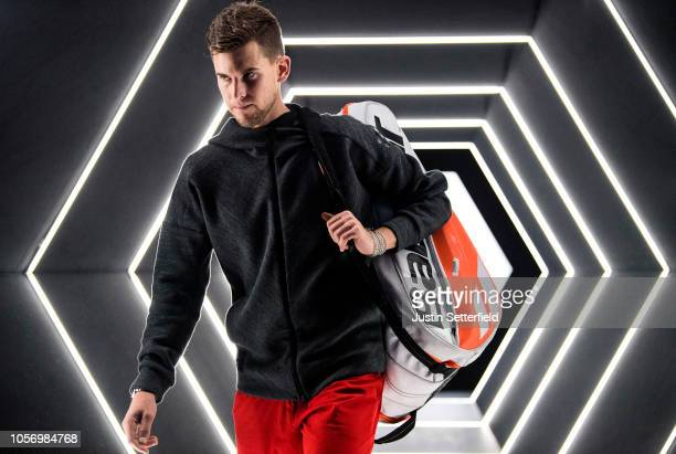 Dominic Thiem of Austria arrives for his Semi Final match against Karen Khachanov of Russia on Day 6 of the Rolex Paris Masters on November 3 2018 in...