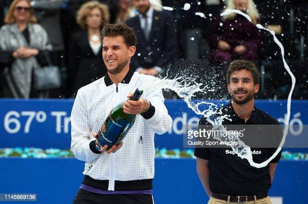 Dominic Thiem of Austria celebrates after defeating Daniil Medvedev of Russia during the final match on day seven of the Barcelona Open Banc Sabadell...