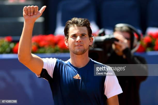Dominic Thiem of Austria celebrates after his victory against Yuichi Sugita of Japan in the quarterfinal on day five of the Barcelona Open Banc...
