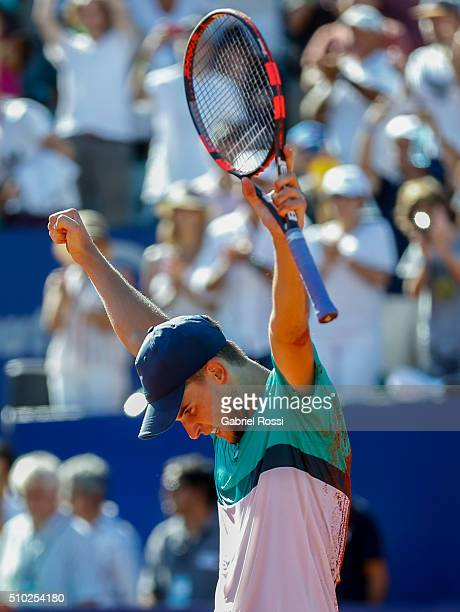 Dominic Thiem of Austria celebrates after winning his final match against Nicolas Almagro of Spain as part of ATP Argentina Open at Buenos Aires Lawn...
