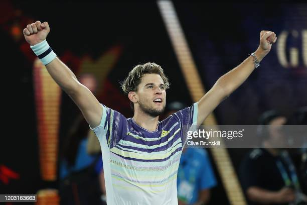 Dominic Thiem of Austria celebrates after winning his Men's Singles Semifinal match against Alexander Zverev of Germany on day twelve of the 2020...