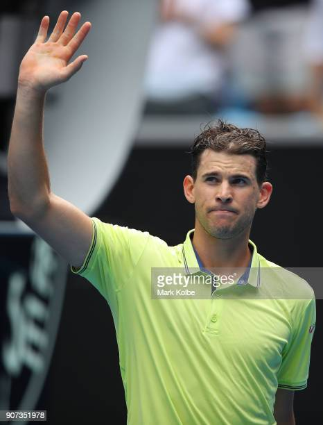 Dominic Thiem of Austria celebrates after winning his third round match against Adrian Mannarino of France on day six of the 2018 Australian Open at...
