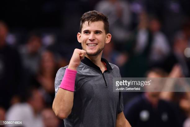 Dominic Thiem of Austria celebrates after winning match point in his Round of 16 match against Borna Coric of Croatia during Day Four of the Rolex...