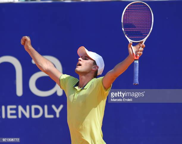Dominic Thiem of Austria celebrates after winning the final match against Aljaz Bedene of Slovenia as part of ATP Argentina Open at Buenos Aires Lawn...