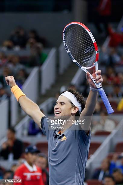 Dominic Thiem of Austria celebrates after winning the Men's singles final match on day 9 of the 2019 China Open against Stefanos Tsitsipas of Greece...