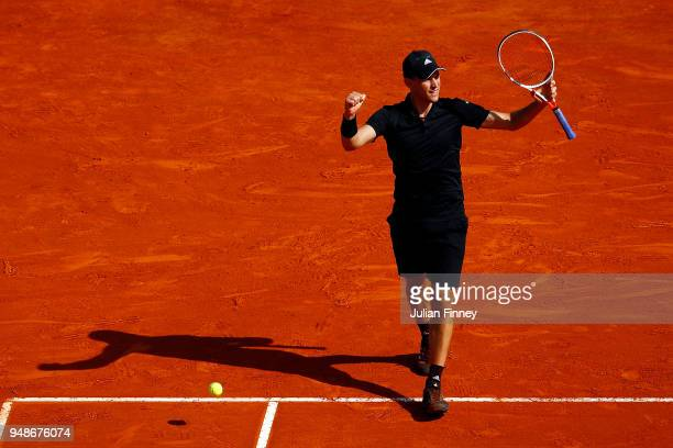 Dominic Thiem of Austria celebrates beating Novak Djokovic of Serbia in his his men's singles 3rd round match on day five of the Rolex MonteCarlo...