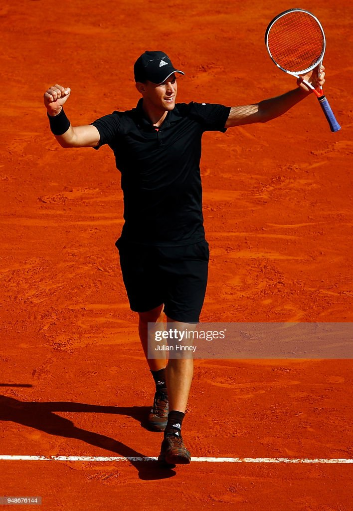 Dominic Thiem of Austria celebrates beating Novak Djokovic of Serbia in his his men's singles 3rd round match on day five of the Rolex Monte-Carlo Masters at Monte-Carlo Sporting Club on April 19, 2018 in Monte-Carlo, Monaco.