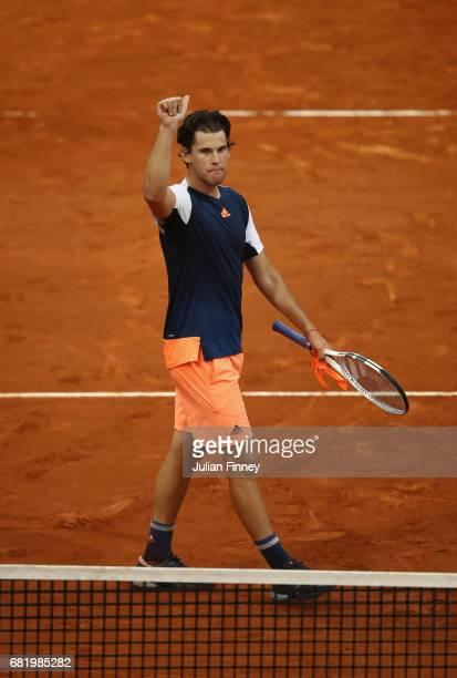 Dominic Thiem of Austria celebrates defeating Grigor Dimitrov of Bulgaria during day six of the Mutua Madrid Open tennis at La Caja Magica on May 11...