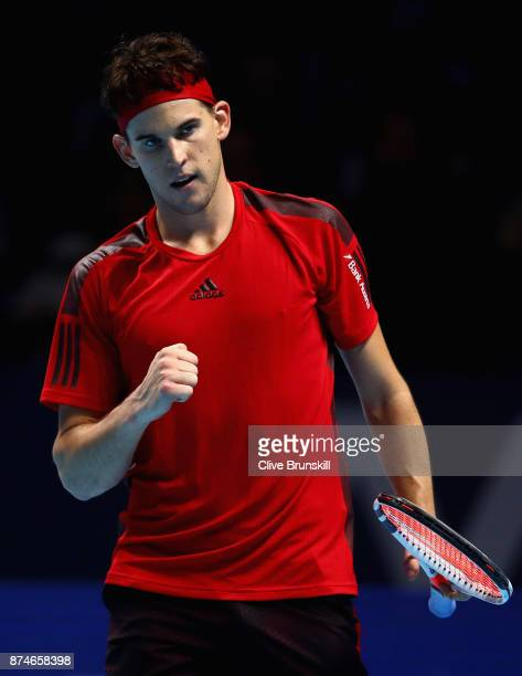 Dominic Thiem of Austria celebrates during the singles match against Pablo Carreno Busta of Spain on day four of the 2017 Nitto ATP World Tour Finals...