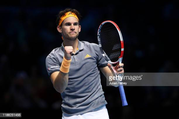 Dominic Thiem of Austria celebrates in his singles final match against Stefanos Tsitsipas of Greece during Day Eight of the Nitto ATP Finals at The...