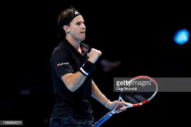 Dominic Thiem of Austria celebrates match point during his round robin match against Stefanos Tsitsipas of Greece during their first round robin...