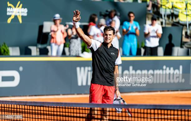 Dominic Thiem of Austria celebrates the victory during the Hamburg Open 2019 at Rothenbaum on July 24 2019 in Hamburg Germany