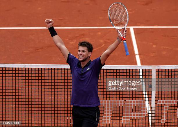 Dominic Thiem of Austria celebrates the victory in his Men's final match against Daniil Medvedev of Russia on day seven of the Barcelona Open Banc...