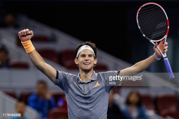 Dominic Thiem of Austria celebrates victory after the Men's Singles semi-final match against Karen Khachanov of Russia on Day eight of 2019 China...