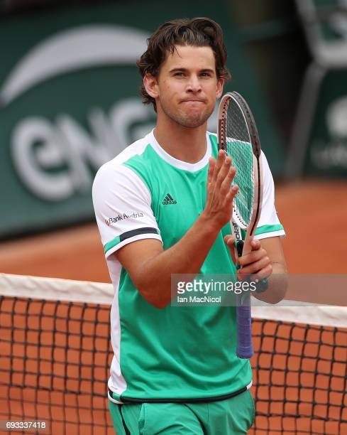 Dominic Thiem of Austria celebrates victory during his match with Novak Djokovic of Serbia on day eleven at Roland Garros on June 7 2017 in Paris...