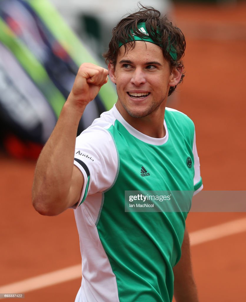Dominic Thiem of Austria celebrates victory during his match with Novak Djokovic of Serbia, on day eleven at Roland Garros on June 7, 2017 in Paris, France.