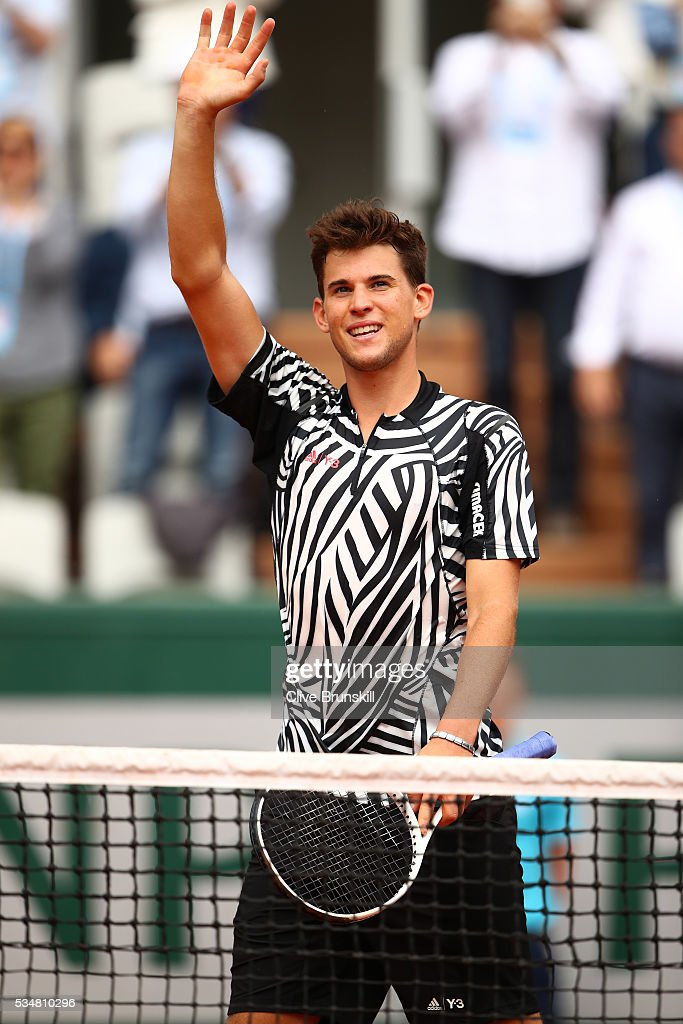 Dominic Thiem of Austria celebrates victory during the Men's Singles third round match against Alexander Zverev of Germany on day seven of the 2016 French Open at Roland Garros on May 28, 2016 in Paris, France.