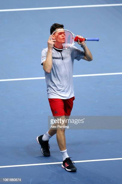 Dominic Thiem of Austria celebrates victory in his singles round robin match against Nei Nishikori of Japan during Day Five of the Nitto ATP Finals...