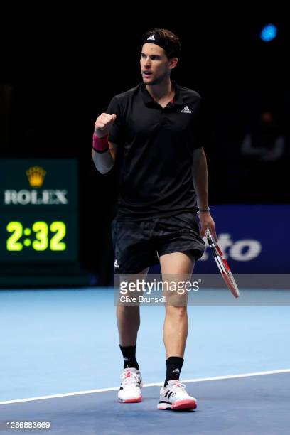 Dominic Thiem of Austria celebrates winning a point during his singles semi final match against Novak Djokovic of Serbia during day seven of the...