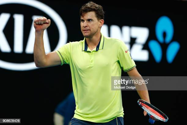 Dominic Thiem of Austria celebrates winning a point in his fourth round match against Tennys Sandgren of the United States on day eight of the 2018...