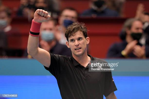 Dominic Thiem of Austria celebrates winning his match against Vitaliy Sachko of Ukraine on day four of the Erste Bank Open tennis tournament at...