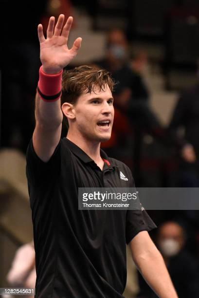 Dominic Thiem of Austria celebrates winning his match against Vitaliy Sachko of Ukraine on day four of the Erste Bank Open tennis tournament at...