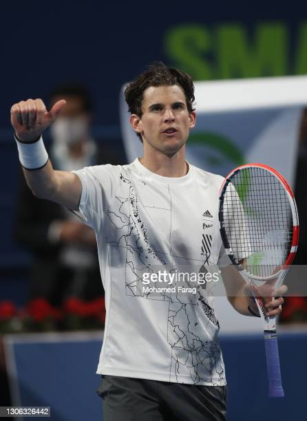 Dominic Thiem of Austria celebrates winning his round of 16 match against Aslan Karatsev of Russia during Day Three of the Qatar ExxonMobil Open 2021...