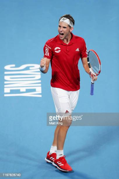 Dominic Thiem of Austria celebrates winning match point during his Group E singles match against Diego Schwartzman of Argentina during day four of...