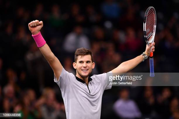 Dominic Thiem of Austria celebrates winning match point during his men's singles match against Jack Sock of The United States during Day five of the...