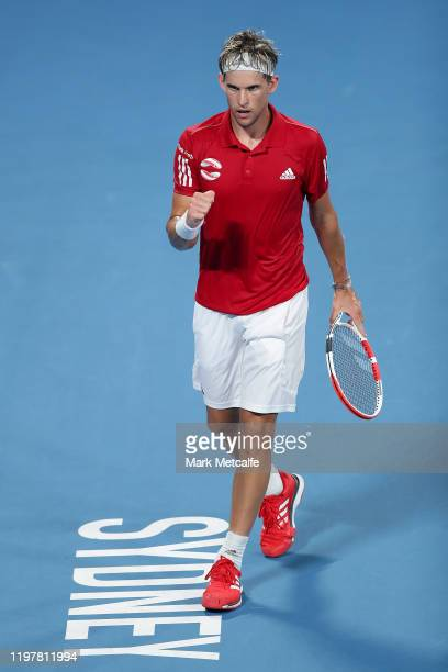Dominic Thiem of Austria celebrates winning set point during his Group E singles match against Diego Schwartzman of Argentina during day four of the...