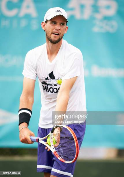 Dominic Thiem of Austria during a training session on day two of the Mallorca Championships 2021 at Country Club de Santa Ponça on June 20, 2021 in...
