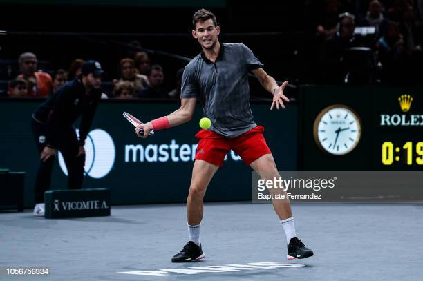 Dominic Thiem of Austria during semi final match on day 6 of the Rolex Paris Masters held at the AccorHotels Arena on November 3 2018 in Paris France